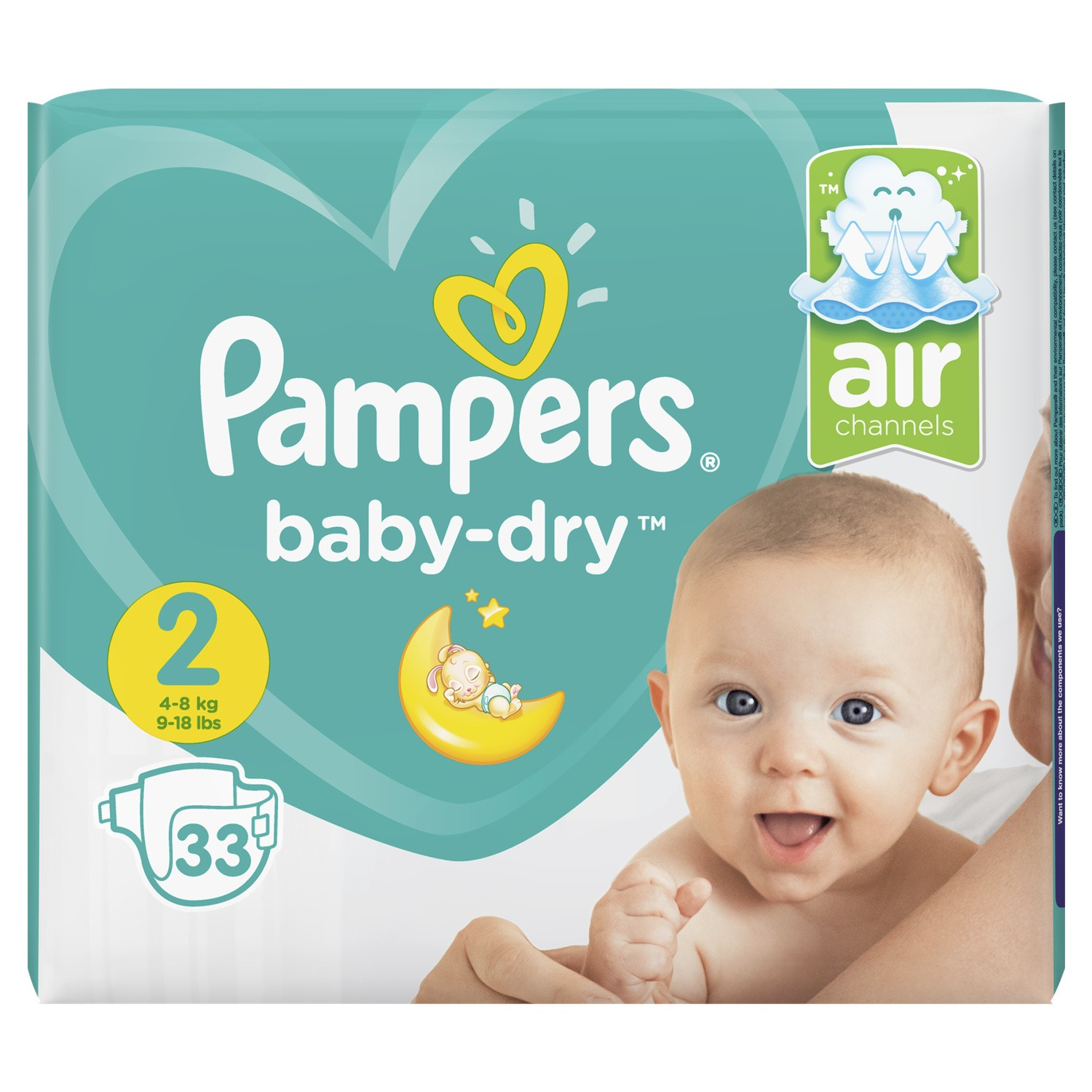 Couches Baby Dry Taille 2 / 4-8 kg, Pampers (x 33)