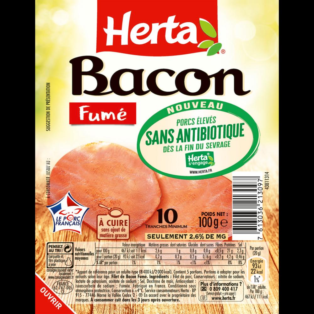 Bacon fumé sans antibiotique, Herta (10 tranches, 100 g)