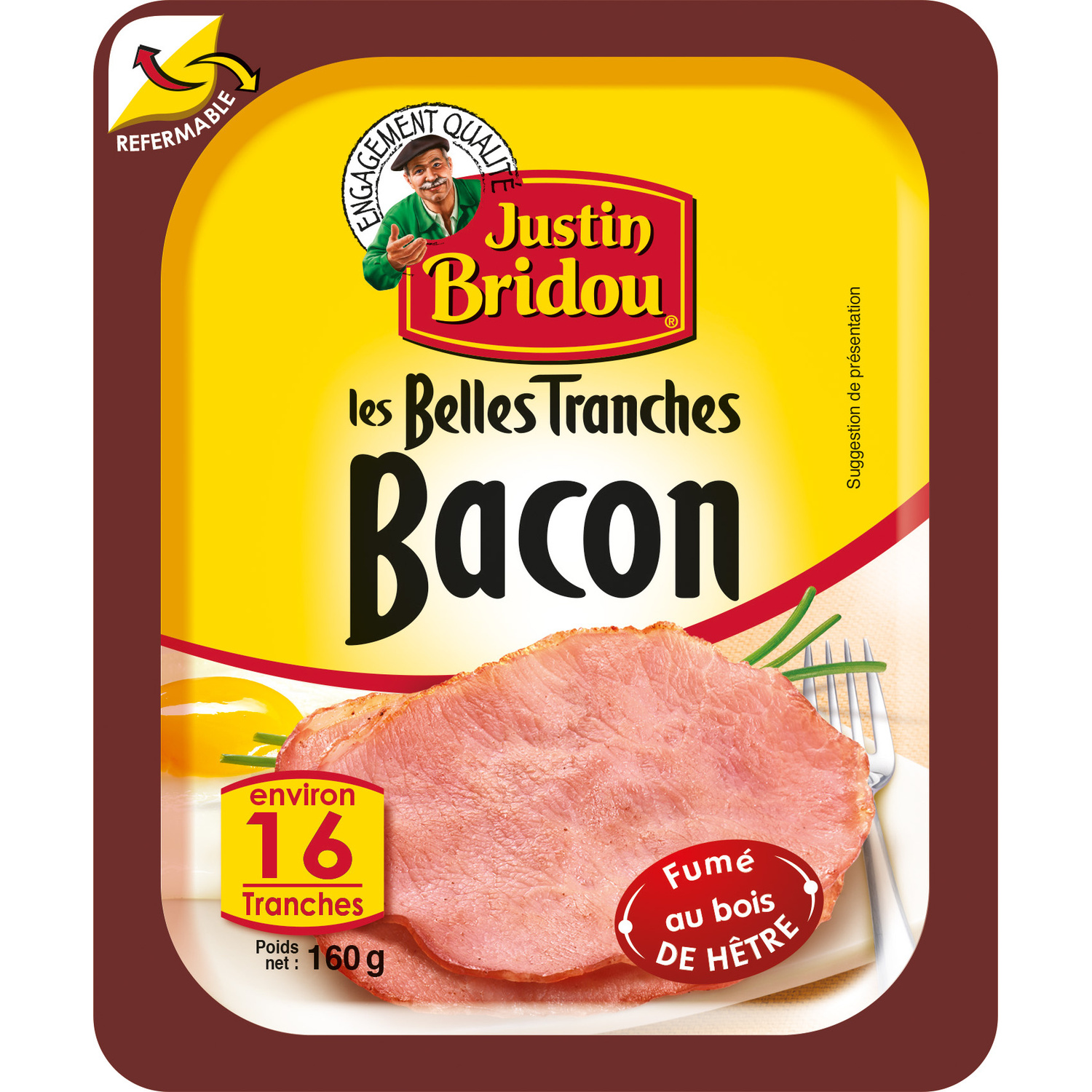 Bacon boite refermable, Justin Bridou (160 g)