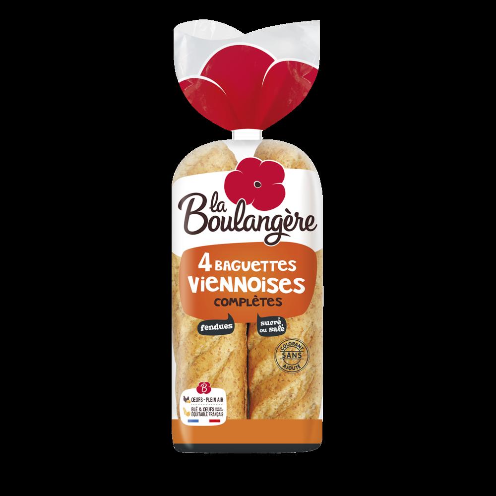 Baguettes viennoises complètes fendues, La Boulangère (x 4, 340 g)