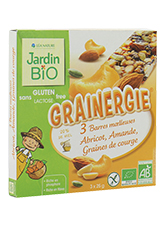 Barres moelleuses grainergie aux abricot, amandes et graines de courge BIO, Jardin Bio (3 x 25 g)