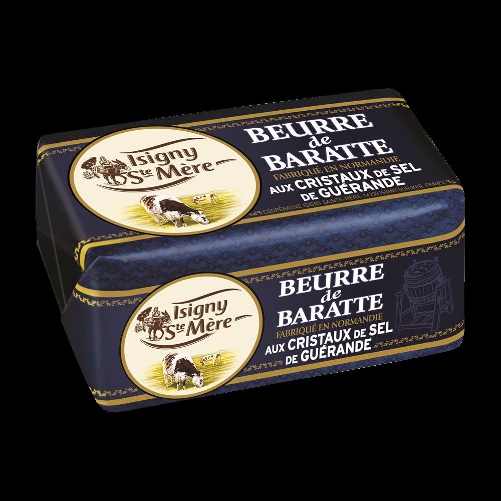 Beurre de baratte aux cristaux de sel de Guérande, Isigny Sainte Mère (250 g)