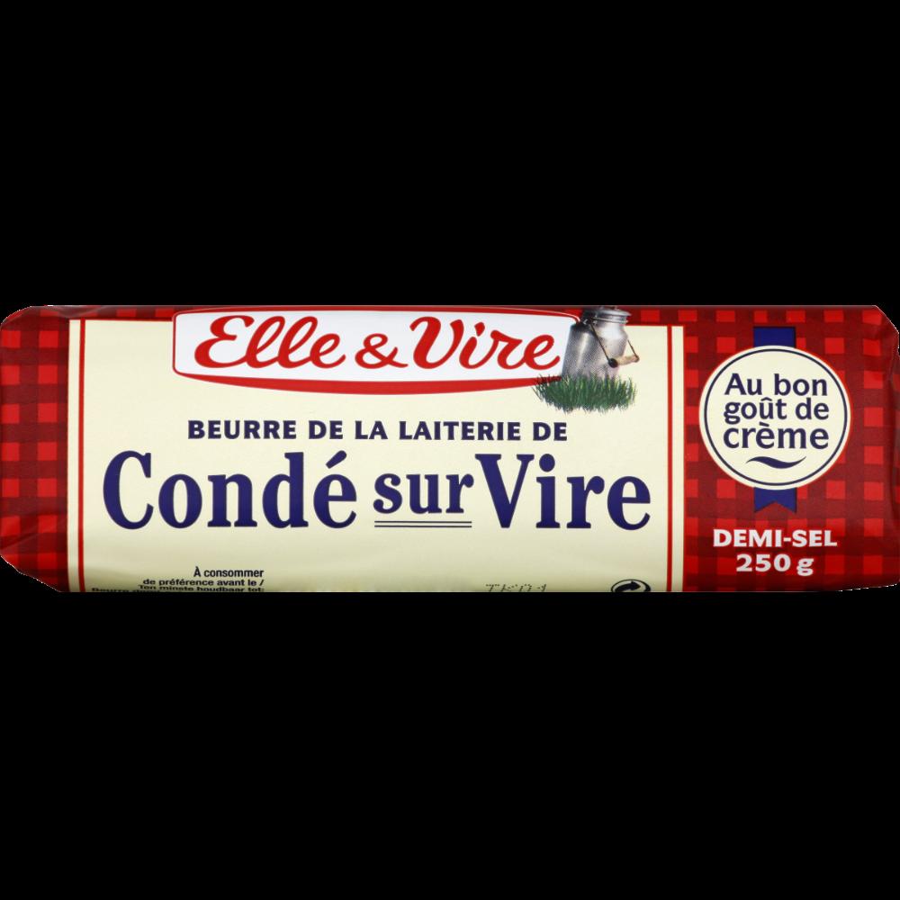 Beurre demi sel de la laiterie de Condé sur Vire, Elle & Vire (250 g)
