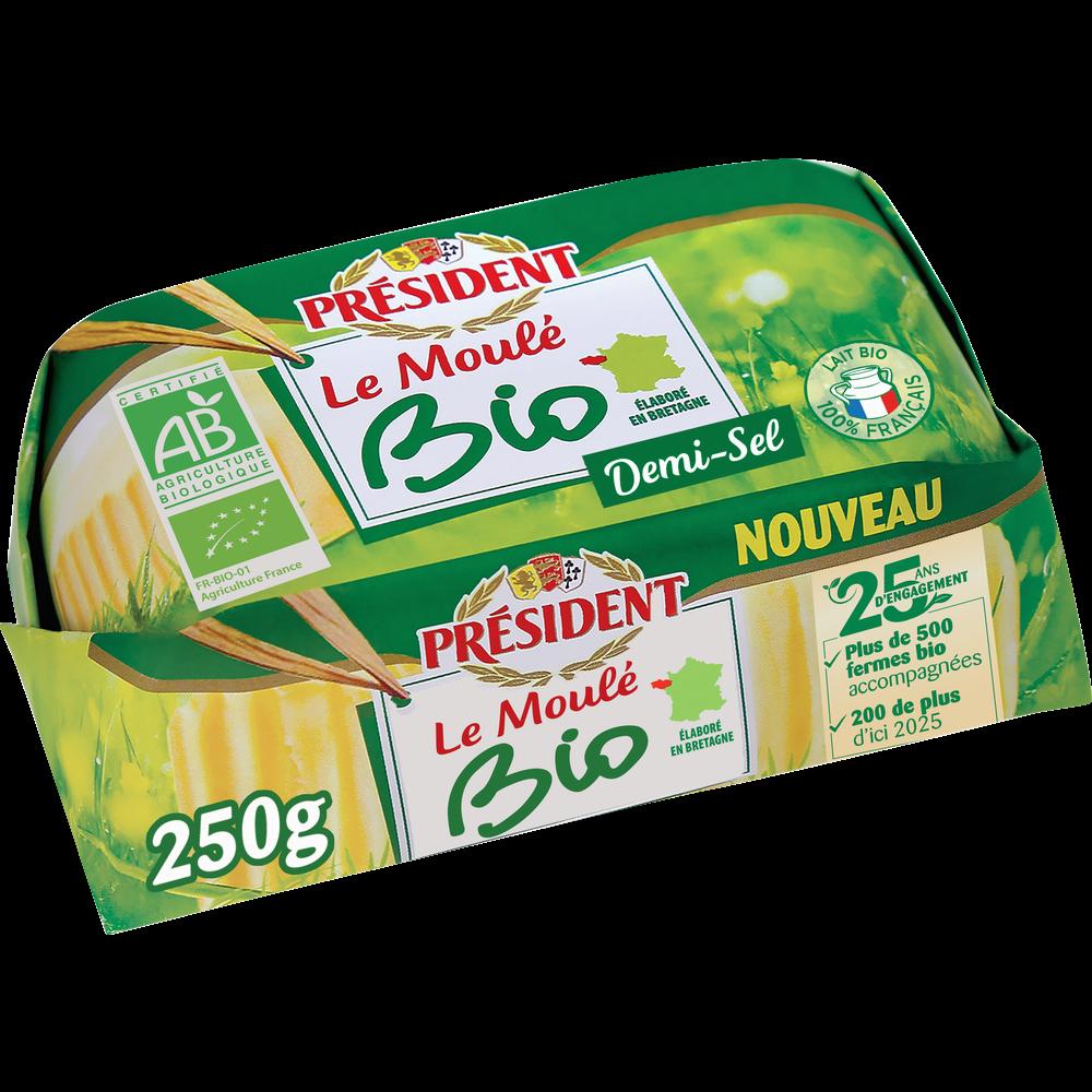 Beurre demi-sel moulé BIO, Président (250 g)