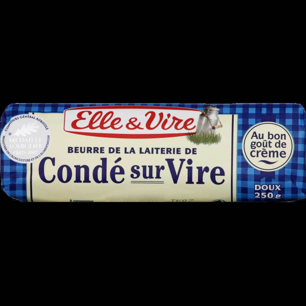 Beurre doux de laiterie de Condé sur Vire, Elle & Vire (250 g)