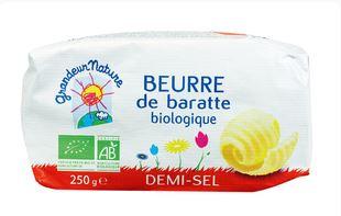 Beurre moulé demi sel BIO, Grandeur Nature (250 g)