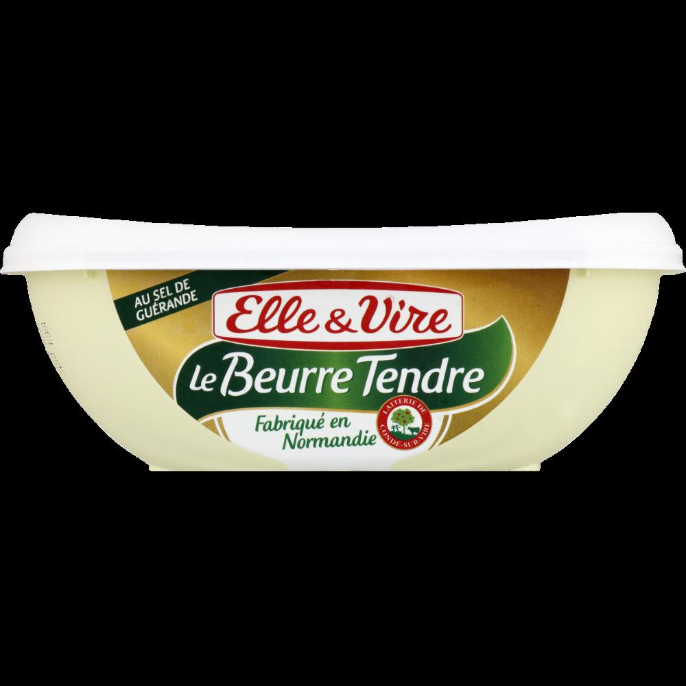 Beurre tendre normand demi-sel en barquette, Elle & Vire (250 g)