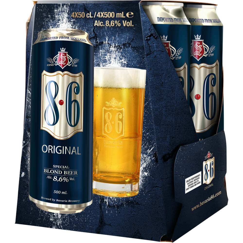 Pack de bière blonde 8.6 Original (4 x 50 cl)