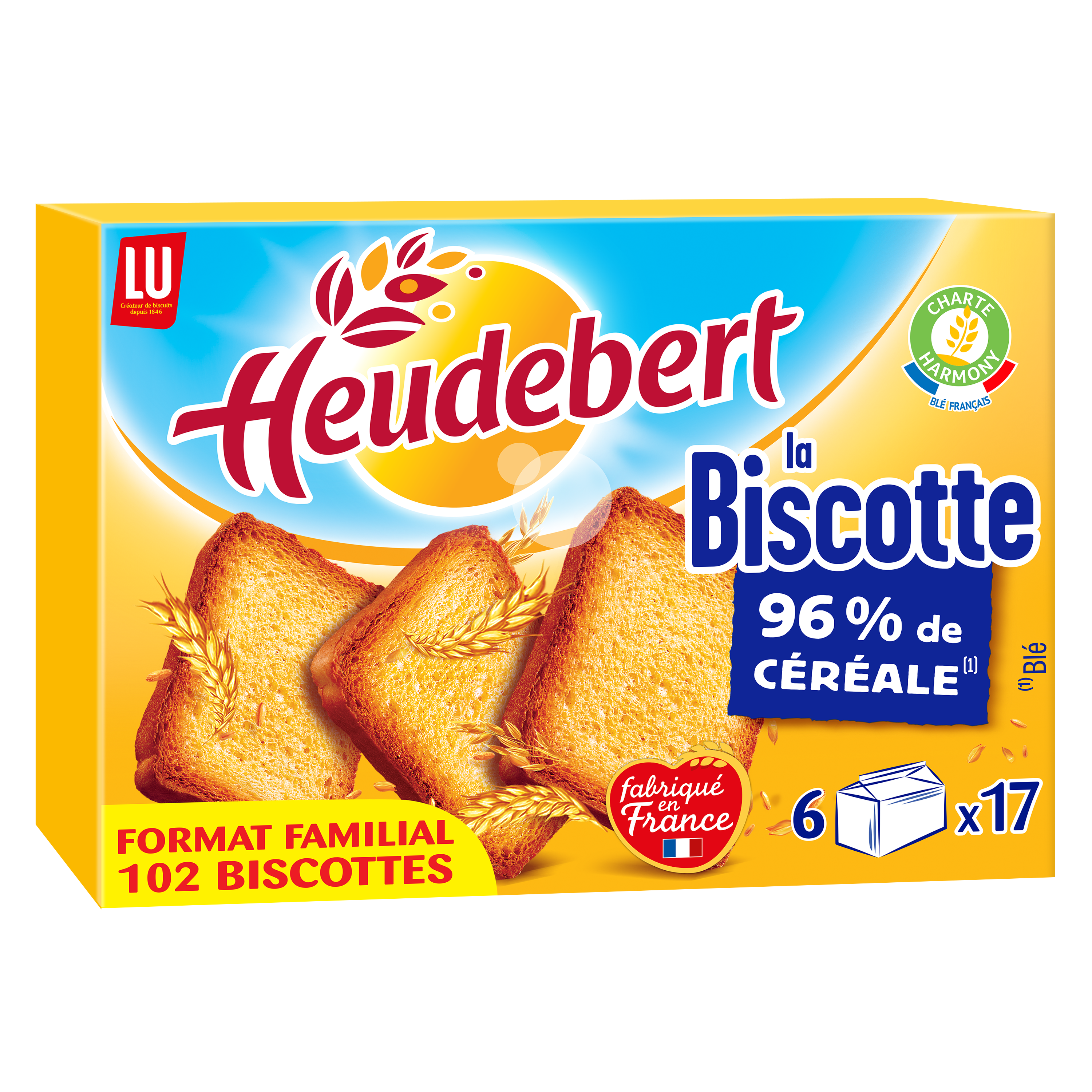 Biscottes natures, Heudebert (102 tranches, 830 g)