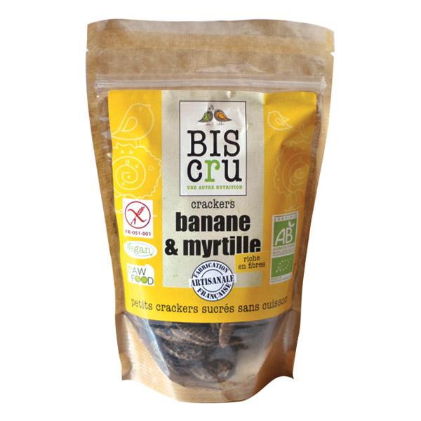 Crackers banane et myrtille BIO, Biscru (70 g)