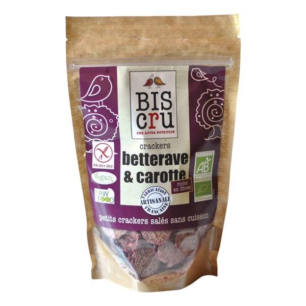 Crackers betterave et carotte BIO, Biscru (70 g)