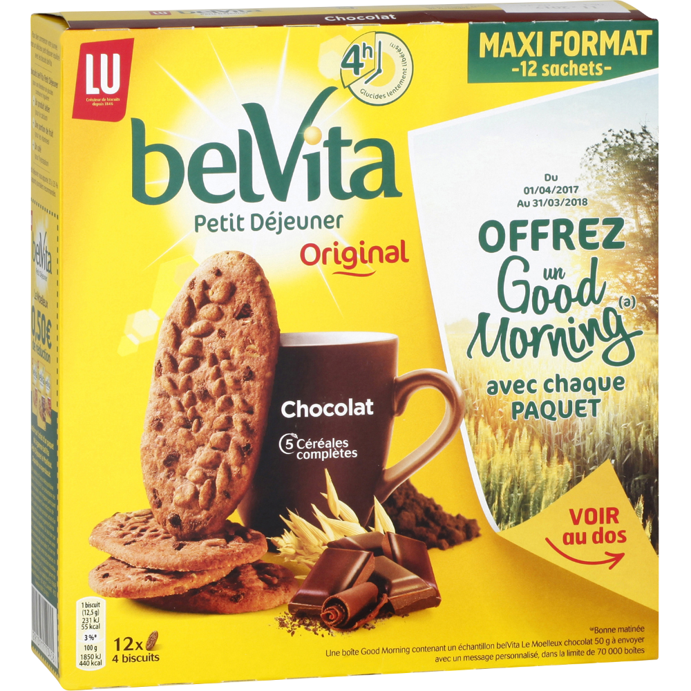 Belvita Petit Déjeuner chocolat céréales, Lu (600 g)