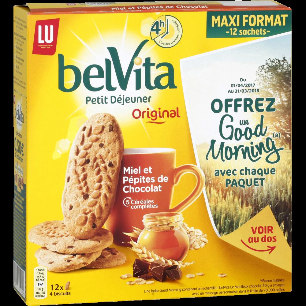 Belvita Petit déjeuner miel pépites de chocolat, Lu (650 g)