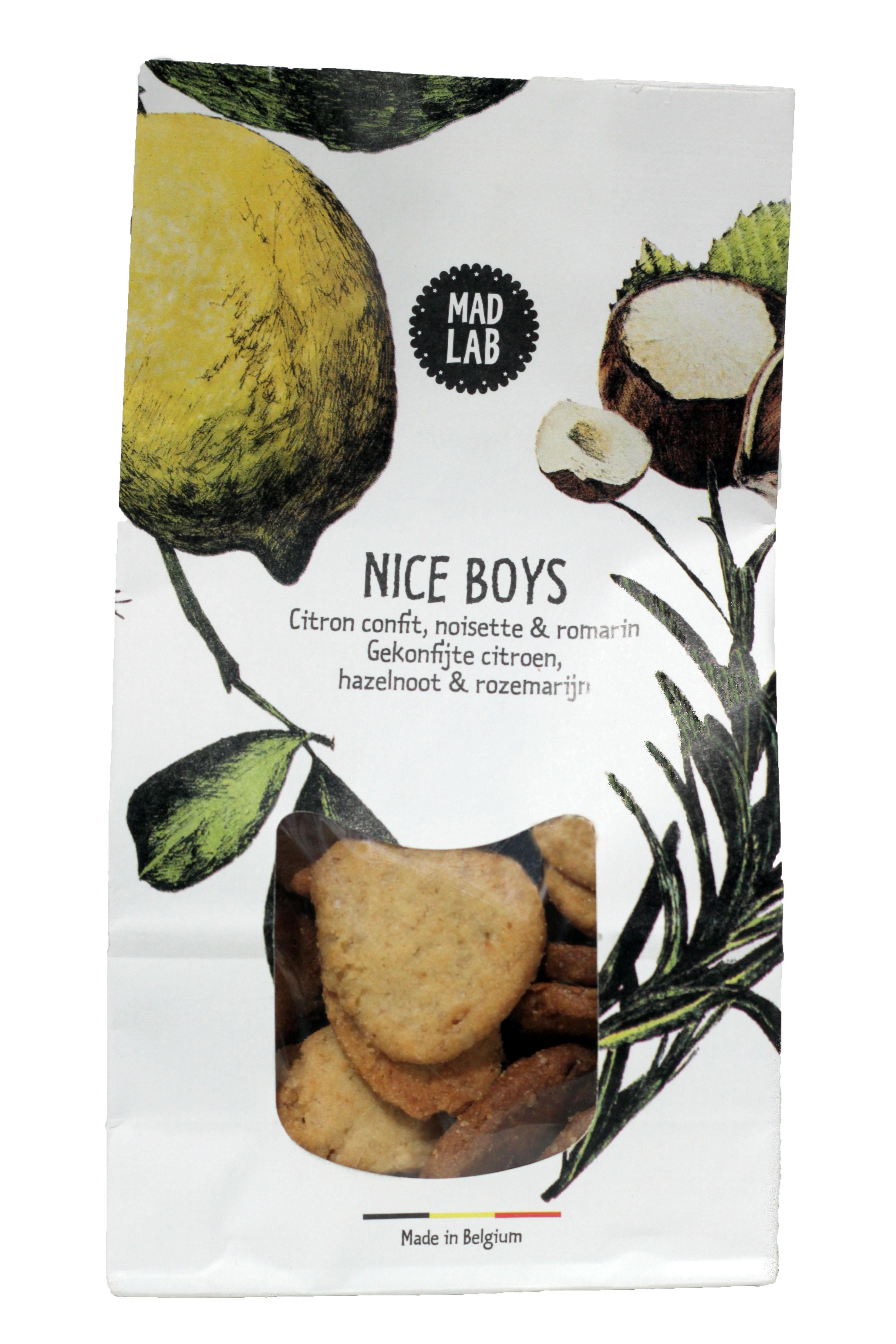 "Biscuits ""Nice Boys"" citron confit, noisette et romarin BIO, Madlab (110 g)"