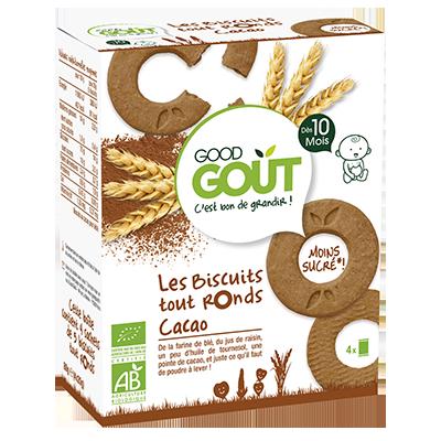 Biscuits tout ronds Cacao BIO - dès 10 mois, Good Goût (4 x 20 g)