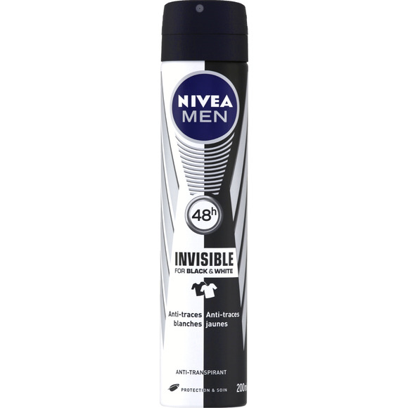 Déodorant spray Black & White pour homme, Nivea (200 ml)