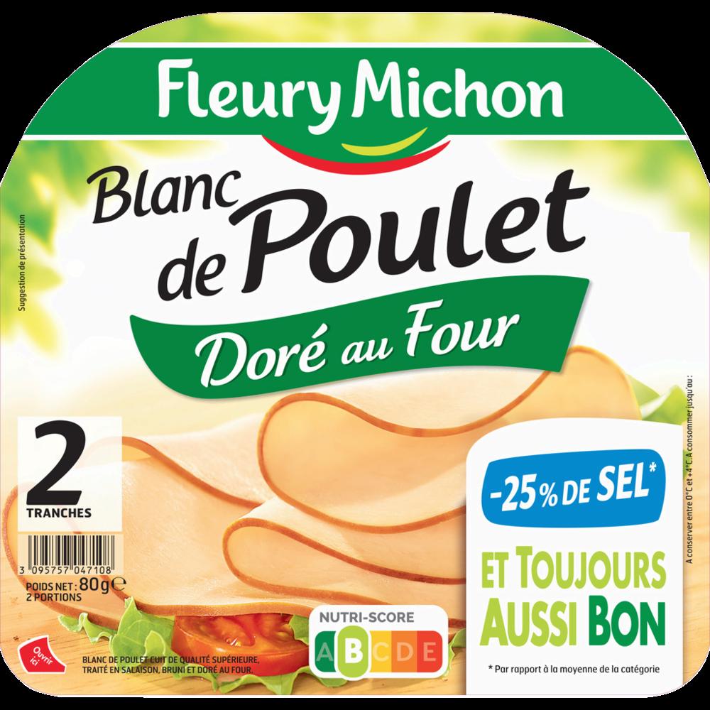 Blanc de poulet doré au four -25% de sel, Fleury Michon (2 tranches, 80 g)