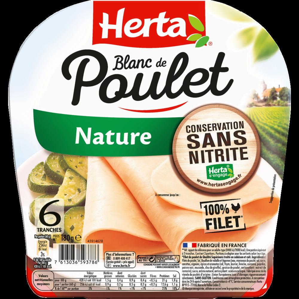 Blanc de poulet nature conservation sans nitrite, Herta (6 tranches, 180 g)
