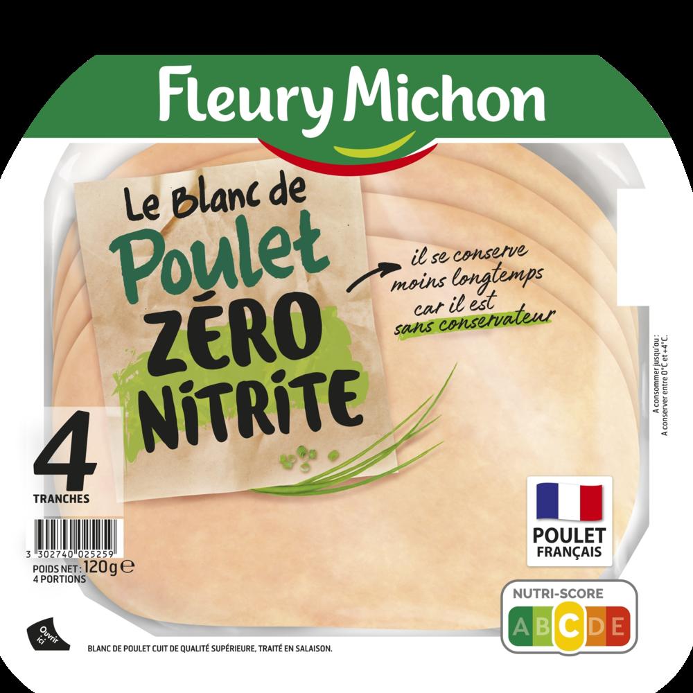 Blanc de poulet zéro nitrite, Fleury Michon (4 tranches, 120 g)