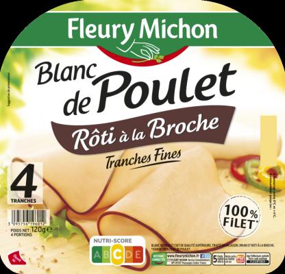 Blanc de poulet à la broche tranche fine, Fleury Michon (4 tranches, 120 g)