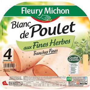 Blanc de poulet aux fines herbes, Fleury Michon (4 tranches, 120 g)