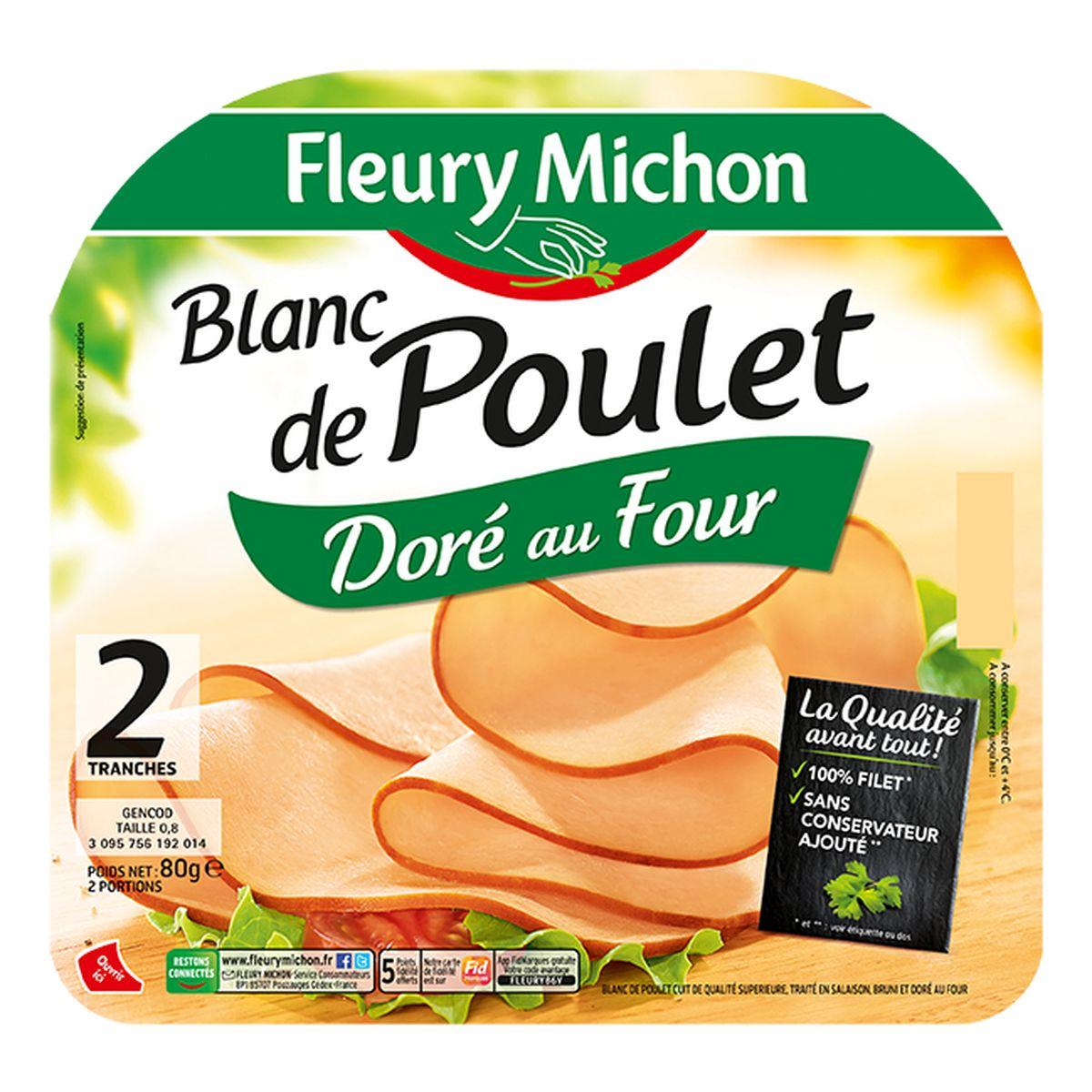 Blanc de poulet doré au four Fleury Michon (2 tranches, 80 g)