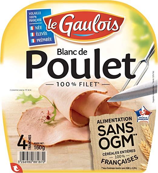 Blanc de poulet sans Ogm, Le Gaulois (4 tranches, 160 g)