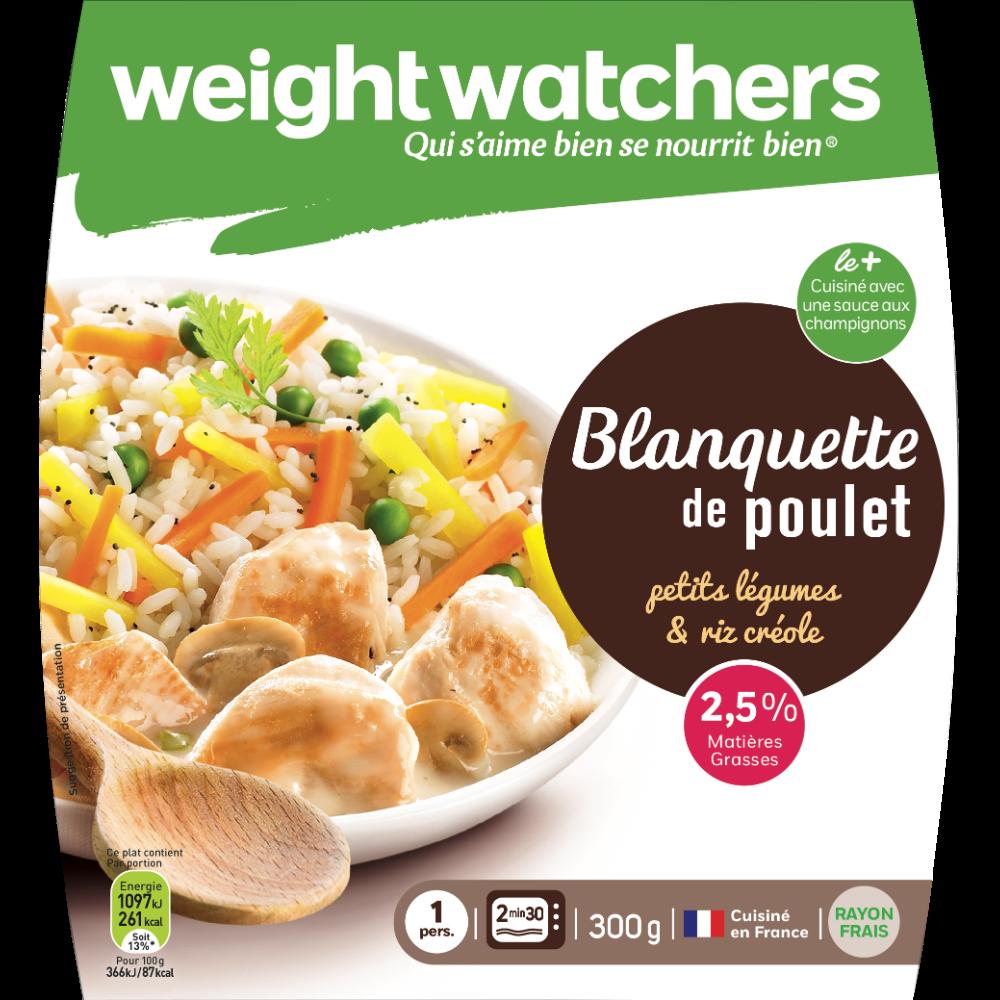 Blanquette poulet petits légumes riz créole, Weight Watchers (300 g)