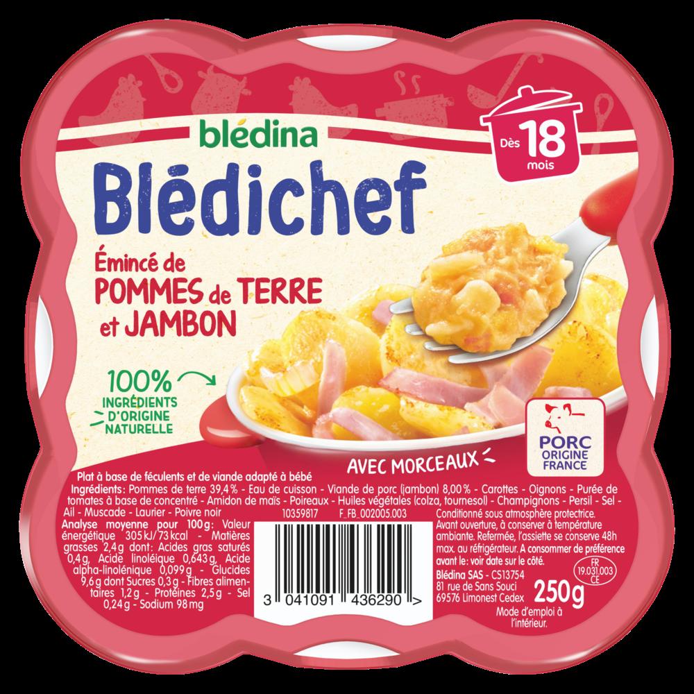 Blédichef assiette d'émincé pommes de terre et jambon - dès 18 mois, Blédina (250 g)