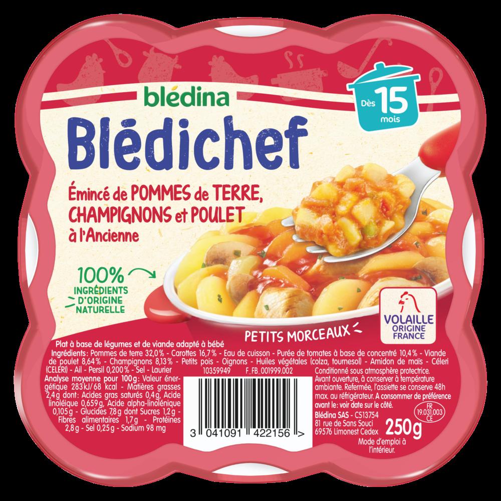 Blédichef assiette d'émincé de PDT champignons et poulet - dès 15 mois, Blédina (250 g)