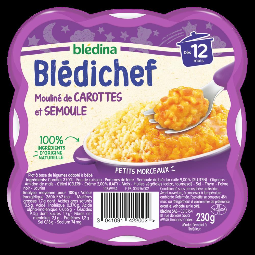 Blédichef assiette mouliné de carottes et semoule - dés 12 mois, Blédina (230 g)