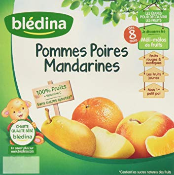 Coupelles pommes, poires, mandarines, Bledina (4 x 100 g)