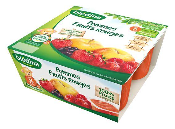 Coupelles pommes fruits rouges - 8 mois, Blédina (4 x 100 g)