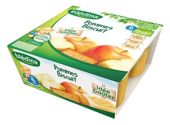 Coupelles pommes biscuit - 6 mois, Blédina (4 x 100 g)