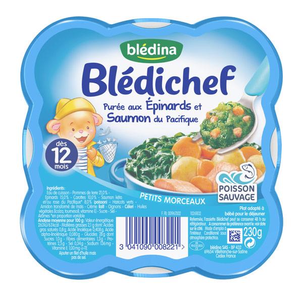 Blédichef purée aux épinards et saumon du Pacifique - 12 mois, Blédina (230 g)