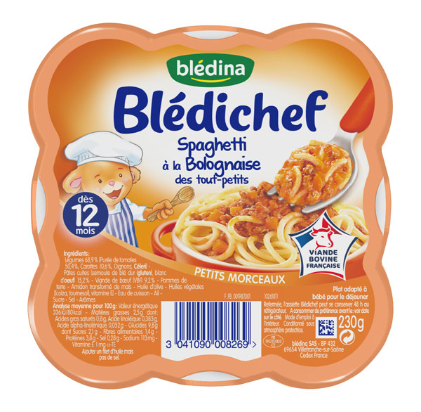 Blédichef assiette de spaghetti à la Bolognaise des tout-petits - dès 12 mois, Blédina (230 g)