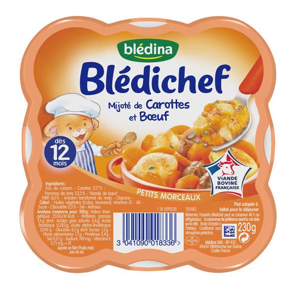 Blédichef mijoté de carottes et boeuf - 12 mois, Blédina (230 g)