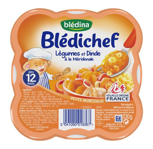 Blédichef légumes et dinde à la méridionale - 12 mois, Blédina (230 g)