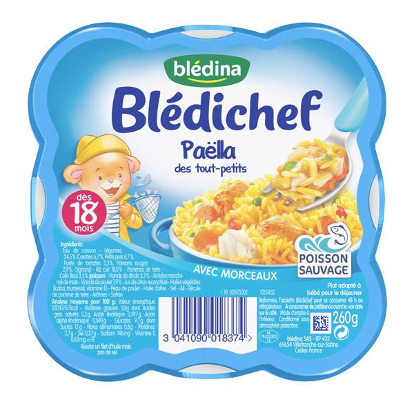 Blédichef assiette de Paëlla des touts-petits - dès 18 mois, Blédina (250 g)
