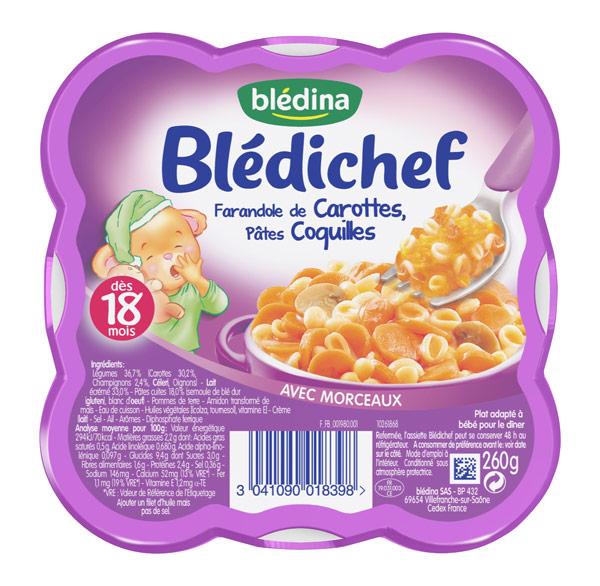 Blédichef assiette de farandole de carottes, pâtes coquille - dès 18 mois, Blédina (260 g)