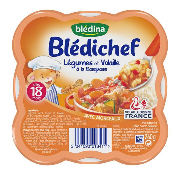 Blédichef légumes et volaille à la basquaise - 18 mois, Blédina (260 g)