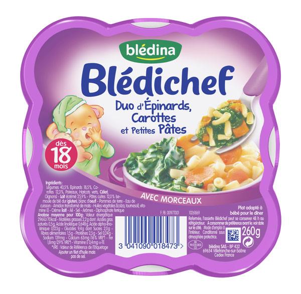 Blédichef assiette duo d'épinard, carotte et petites pâtes - dès 18 mois, Blédina (260 g)