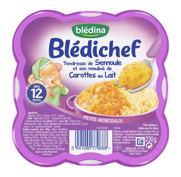 Blédichef tendresse de semoule & son mouliné de carottes au lait - 12 mois, Blédina (230 g)