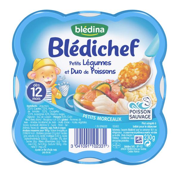 Blédichef assiette de petits Legumes & duo de poissons - dès 12 mois, Blédina (230 g)