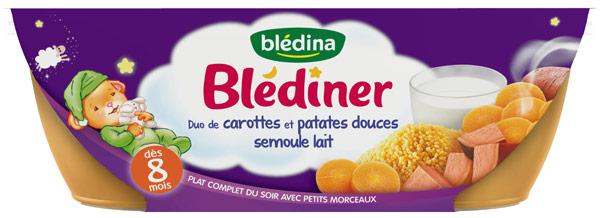 Blédîner duo de carottes et patates douces semoule et lait - 8 mois, Blédina (2 x 200 g)