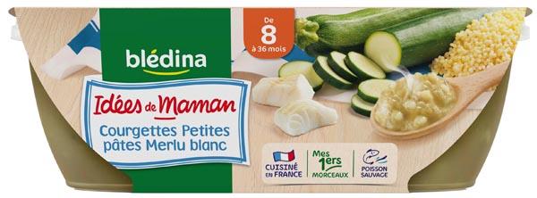 Bols de courgette pâtes/merlu - 8 mois, Blédina (2 x 200 g)