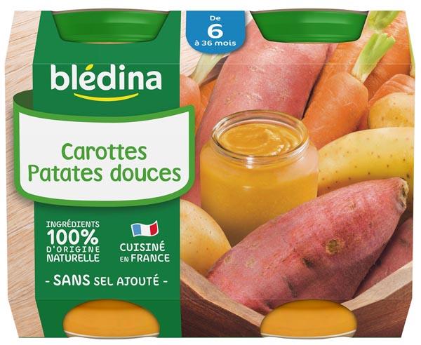 Petit pot carottes, patates douces - dès 6 mois, Blédina (2 x 200 g)