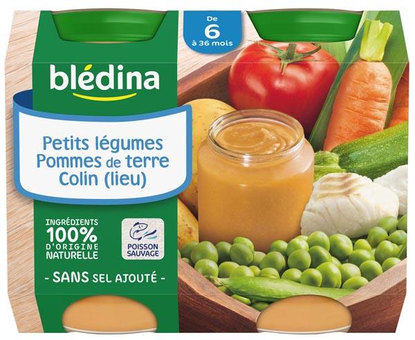 Petit pot petits légumes pommes de terre colin (lieu) - dès 6 mois, Blédina (2 x 200 g)