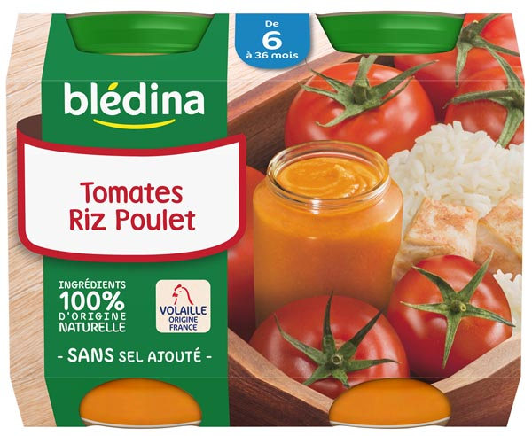 Petit pot tomates, riz, poulet - dès 6 mois, Blédina (2 x 200 g)