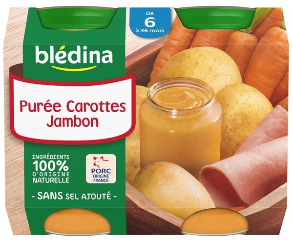 Petit pot purée carottes, jambon - dès 6 mois, Blédina (2 x 200 g)